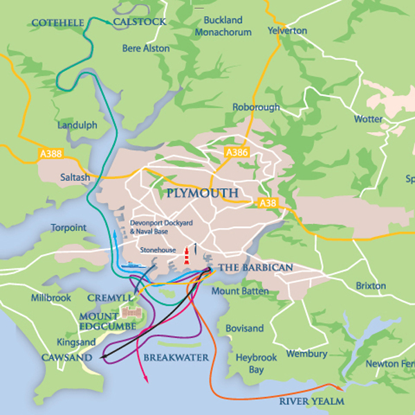 Plymouth Boat Trips Location map