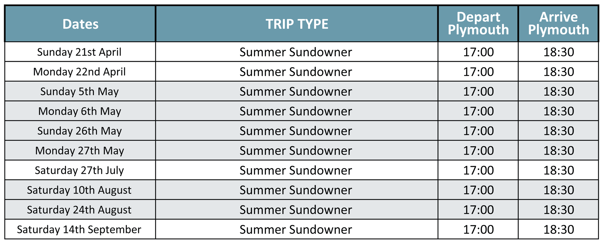 Summer Sundowner Cruises Timetable 2019
