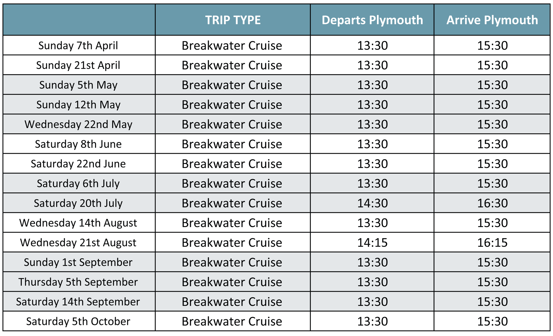 Breakwater Cruises Timetable 2019