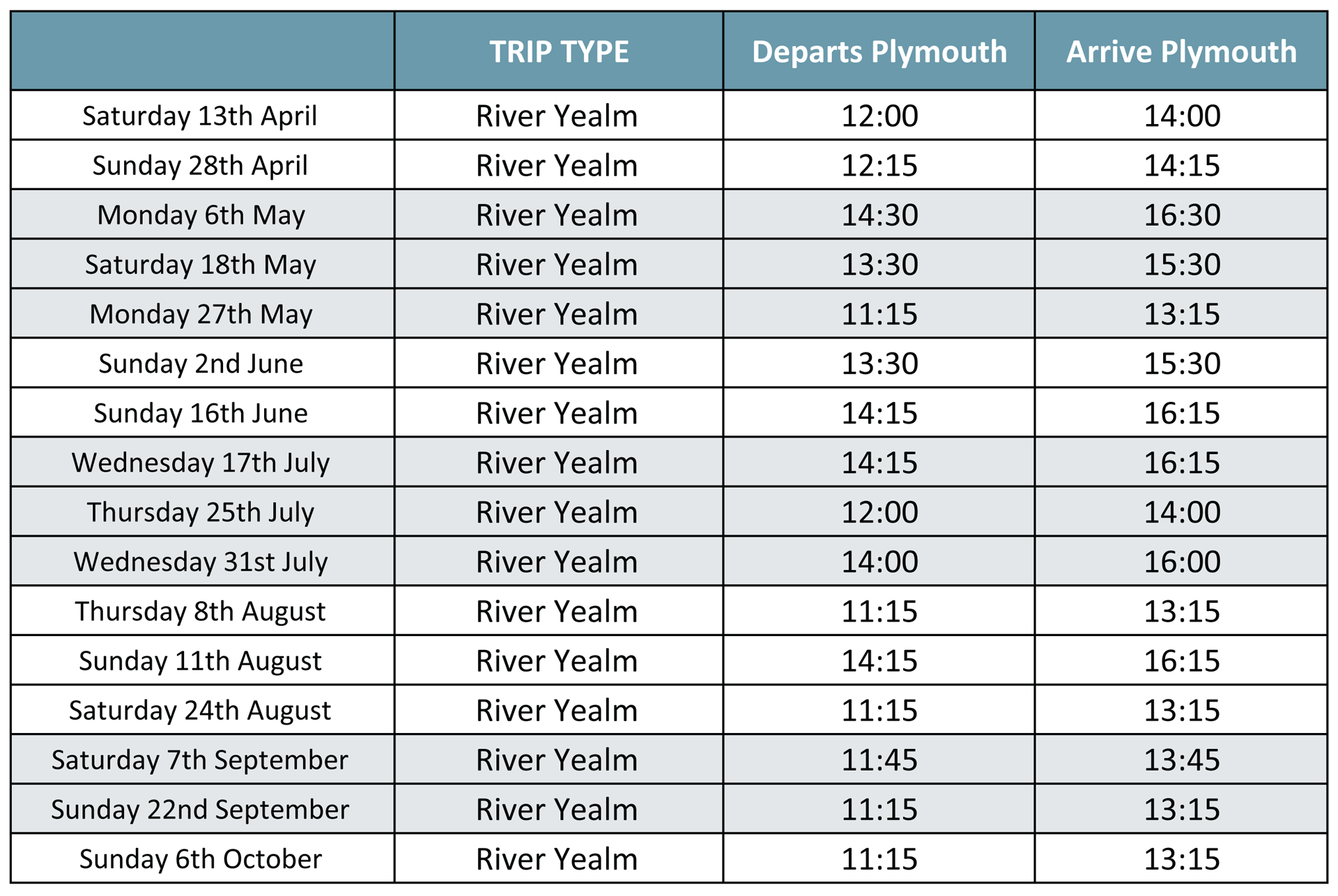 Yealm Cruises Timetable 2019