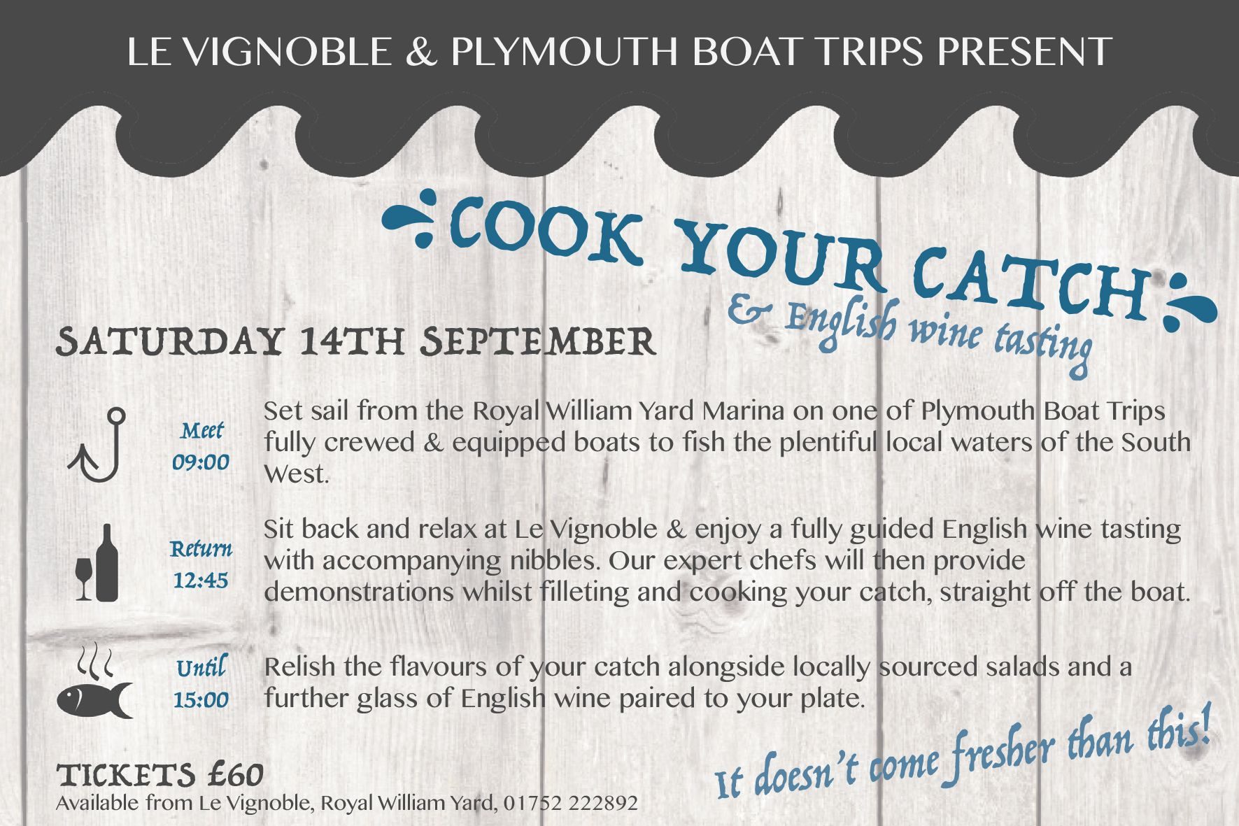 Cook your catch and wine pairing poster