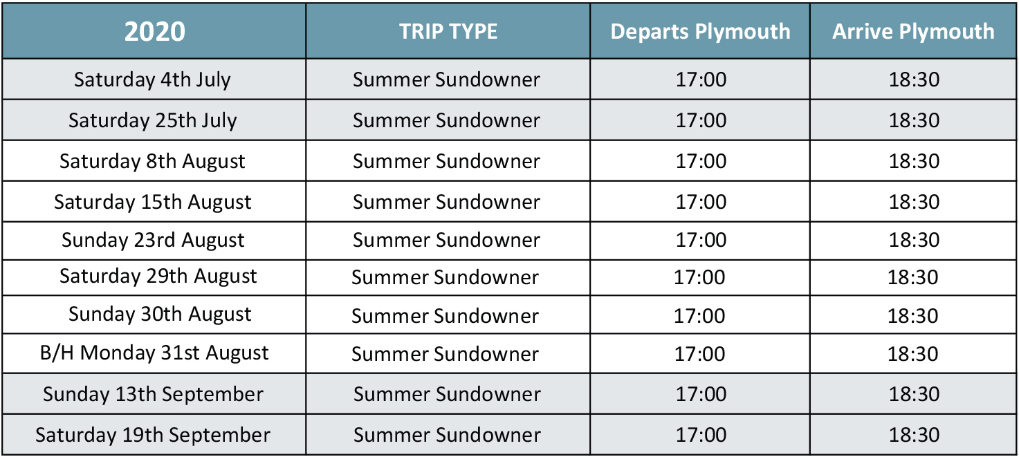 Summer Sundowner Cruise Timetable 2020