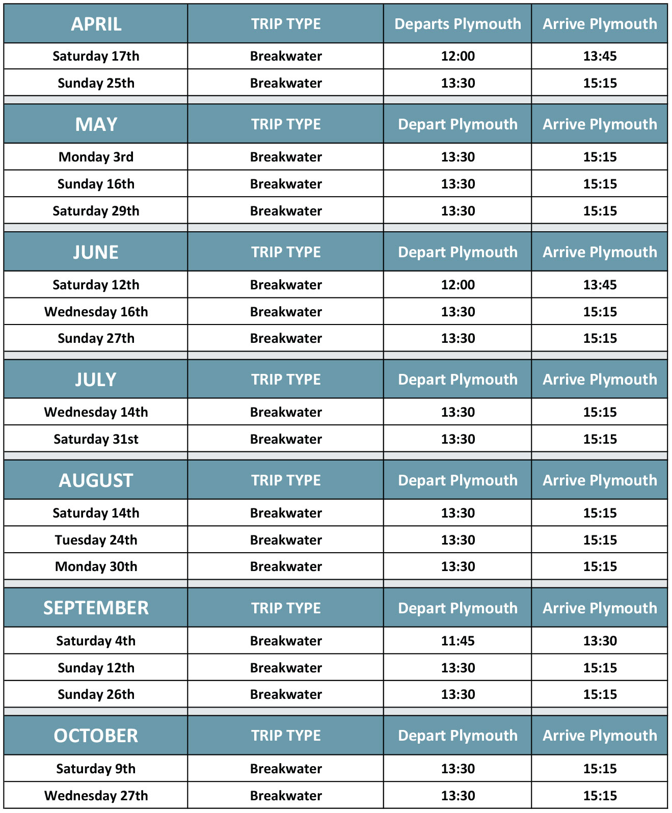 Breakwater Cruise Timetable