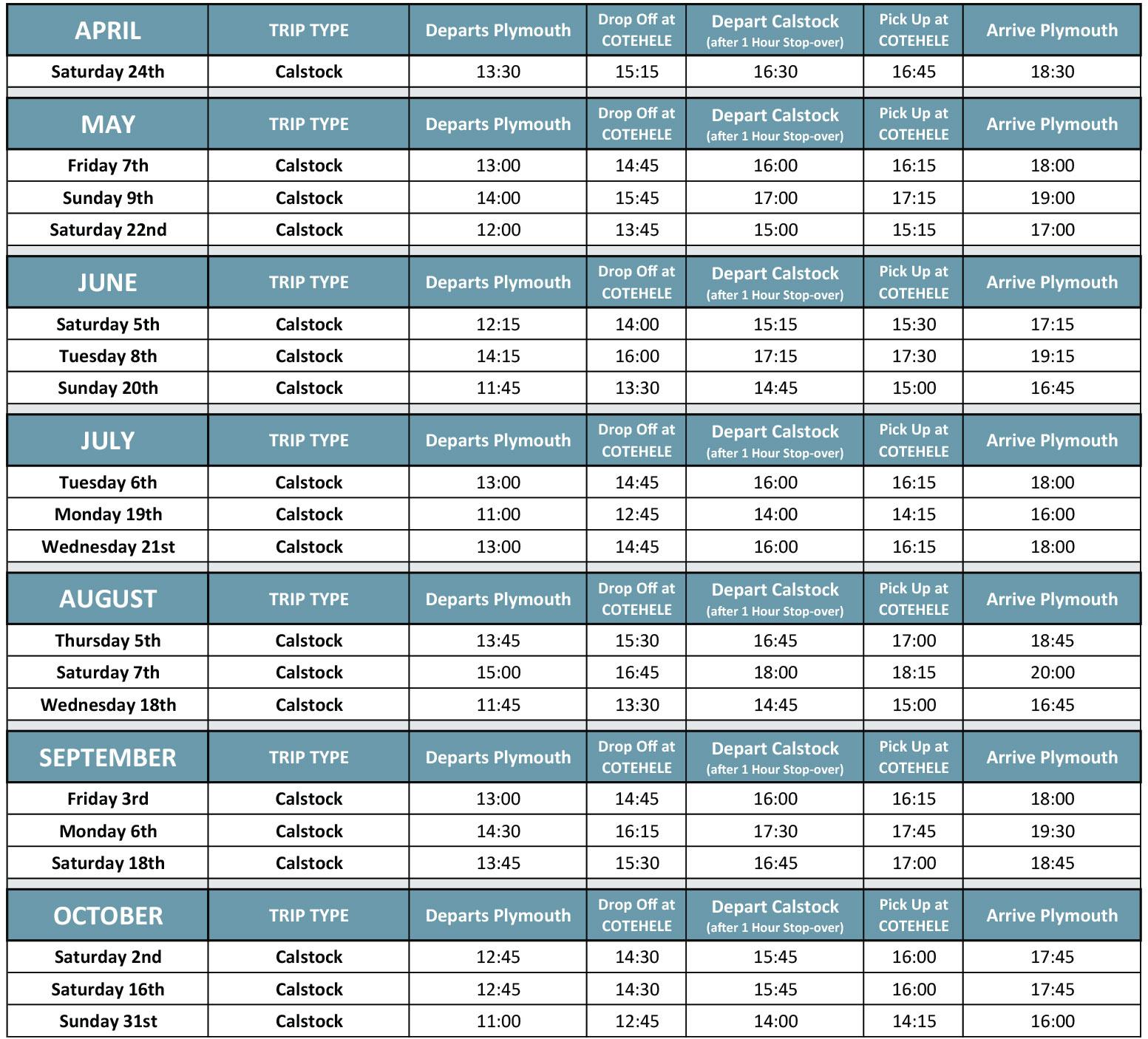 Cotehele Quay Cruise Timetable