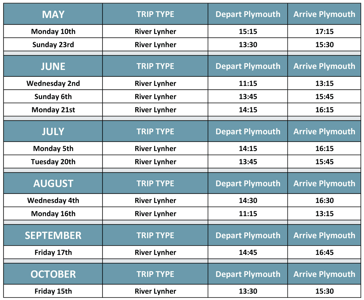 River Lynher Cruise Timetable