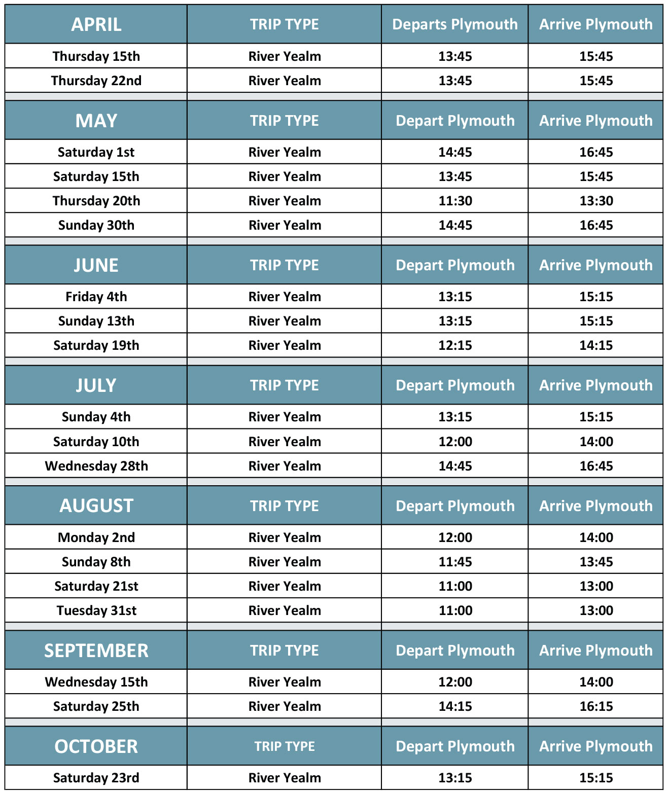 River Yealm Cruise Timetable